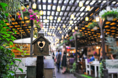 Bird house. At a modern terrace royalty free stock photography