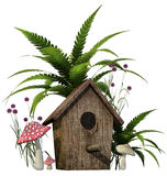 Bird house with mushrooms and fern Royalty Free Stock Image