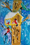 Bird house painted by child. Gouache painting with a small bird house where birds feed during winter. Made by child stock illustration