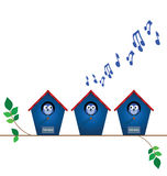 Bird house playing load music. With neighbours for sale signs with copy space Stock Photography