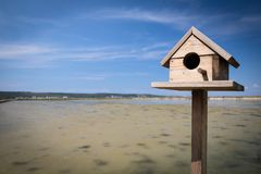 Bird house in salt pans in seca near Piran, Slovenia. Bird house in salt pans in seca near Piran, close up stock image