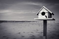 Bird house in salt pans in seca near Piran, Slovenia. Bird house in salt pans in seca near Piran, in black and white royalty free stock images