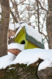 Bird house with snow Royalty Free Stock Photography