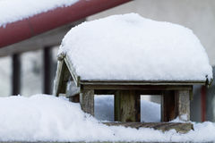 Bird house with snow cover Royalty Free Stock Image