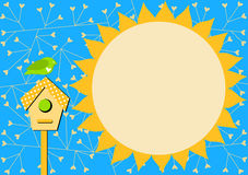 Bird house and Sun Invitation Card Stock Photography
