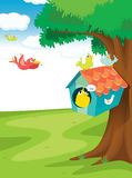 Bird house on tree Royalty Free Stock Photography