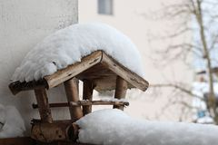 Bird house. In winter covered snow stock images