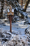 Bird House in Winter. Snow covered bird house.  Bucks County, Pennsylvannia Stock Photos