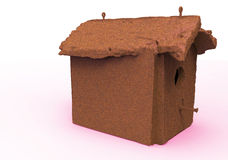 Bird house / wooden house. 3D render isolate bird house / wooden house royalty free illustration