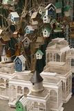 Bird houses. A lot of bird houses on French bird market Royalty Free Stock Images