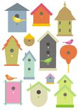 Bird houses. Illustration showing various styles or bird houses and birds Stock Illustration
