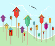 Bird houses in a field Royalty Free Stock Photo