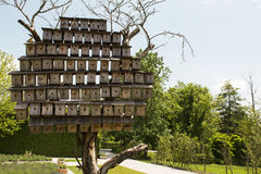 Bird houses. In the park stock photography