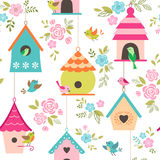Bird houses pattern. Floral pattern with birds and bird houses Vector Illustration