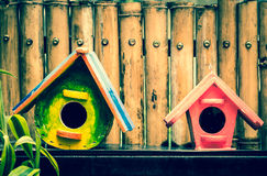 Bird houses processed in vintage style Royalty Free Stock Photo