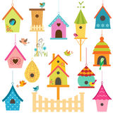 Bird houses. Set of colorful bird houses Stock Illustration