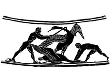 Bird hunters. Scene from hunting - painting on the amphora from ancient Greece - ancient art Stock Photography