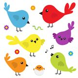 Bird icon set. Cute cartoon colorful character. Birds baby collection. Decoration element. Singing song. Flower, worm insect, musi Stock Photography
