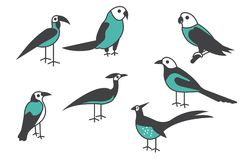 Bird icon. Set of different bird vector illustration. For your website stock illustration