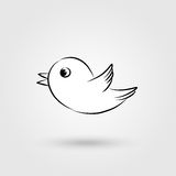Bird icon with shadow Stock Photography