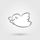 Bird icon with shadow. Elegant flying and tweeting bird icon with shadow. Vector illustration Royalty Free Stock Images