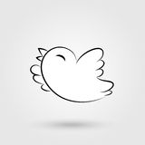 Bird icon with shadow. Elegant flying and tweeting bird icon with shadow. Vector illustration Royalty Free Stock Image