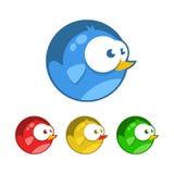 Bird icons. Tiny birds with big eyes, flat design, vector illustration Royalty Free Illustration