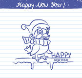Bird illustration for the New year - sketch on school notebook Royalty Free Stock Photos