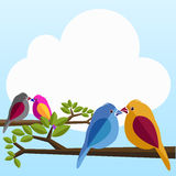 Bird. Illustrations of the Lover birds on the tree Stock Images
