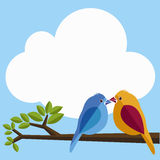 Bird. Illustrations of the Lover birds on the tree Royalty Free Stock Photo