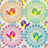 Bird inside circle seamless pattern Royalty Free Stock Image