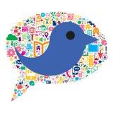 A Bird inside a conceptual bubble speech Stock Images