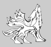 Bird inside a winged wolf on a gray background. An image of a bird inside a wolf. A wolf with wings. On a gray background. Symbolic image Royalty Free Stock Photography