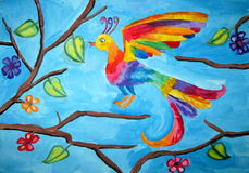 Bird with iridescent plumage. Of children's artwork Royalty Free Stock Photo