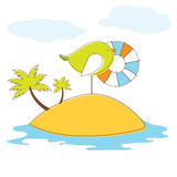 Bird in island. Vector Illuatration Royalty Free Stock Images
