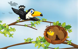 A bird and its nest. Illustration of a bird flying towards its nest Royalty Free Stock Photography