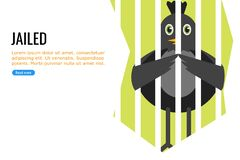 A Black Bird in Jail stock illustration