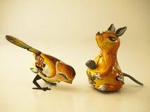 Bird and kangaroo tin toy /  white Stock Photo