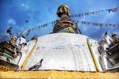 Bird on Kathesimbhu stupa Stock Photography