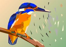 Bird kingfisher on a branch with fish in its beak,mosaic multico. Lored on a colored background without a contour, this picture crumbles to pieces Royalty Free Stock Photo