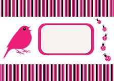 Bird & Ladybugs Stripe Card Stock Photo