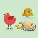 Bird lay coins from eggs Royalty Free Stock Image
