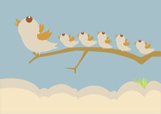 Bird leadership concept. On sky vector illustration