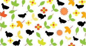 Bird, leaf and flower pattern Stock Photography