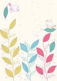Bird Leaves Card_eps. Illustration of birds leaves card Royalty Free Stock Images