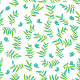 Bird Leaves Green Seamless Pattern_eps Royalty Free Stock Images