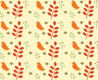 Bird and leaves seamless pattern. Vector Stock Photos