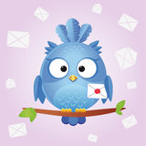 Bird letter. Illustration of a cute and funny bird with letter Royalty Free Stock Photography