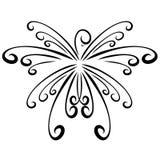 Bird like a graceful snowflake, black curls, pattern royalty free illustration