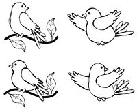 Bird Line Art Illustration 2 Stock Photos